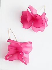 Bright Pink Floral Drop Earrings, , alternate