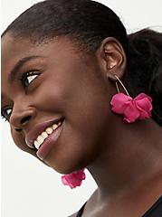 Bright Pink Floral Drop Earrings, , hi-res