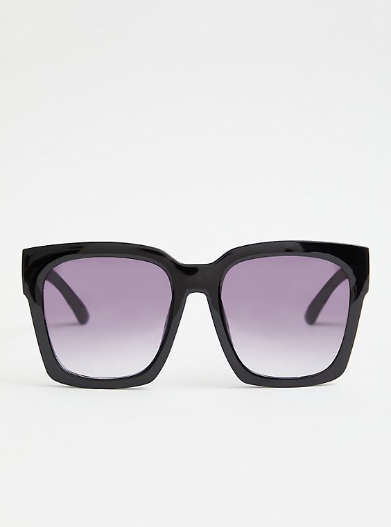 Black Square Oversized Sunglasses, , hi-res