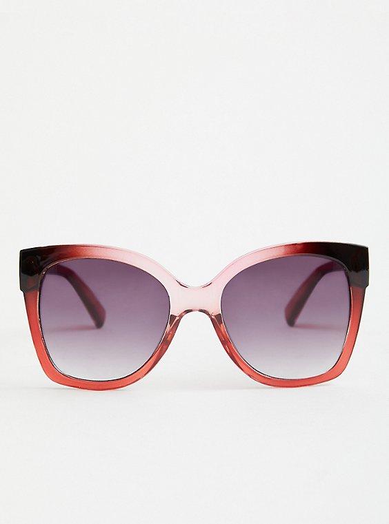 Pink & Black Fade Square Sunglasses, , hi-res