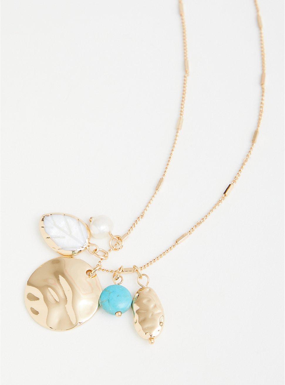 Plus Size Pearl Cluster Pendant - Gold Tone, , hi-res