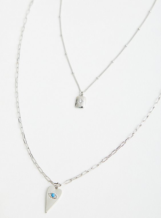 Evil Eye Layered Necklace - Silver Tone , , hi-res