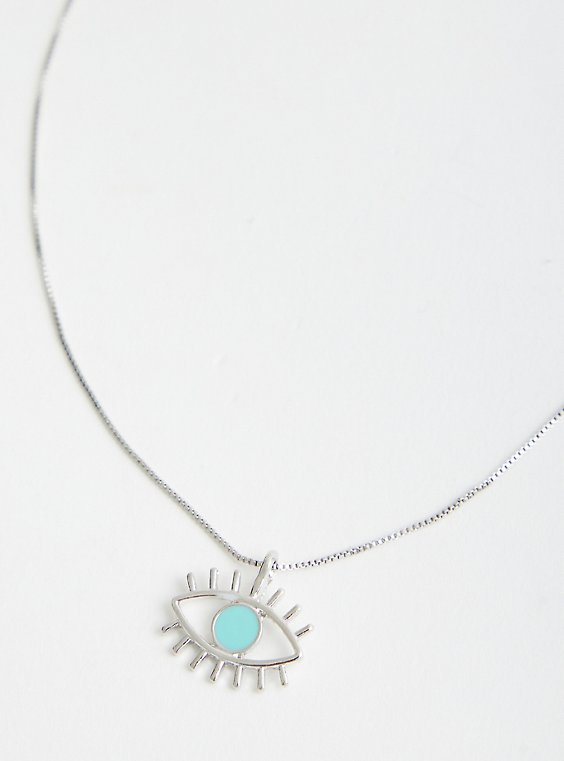 Turquoise Evil Eye Delicate Necklace - Silver Tone , , hi-res