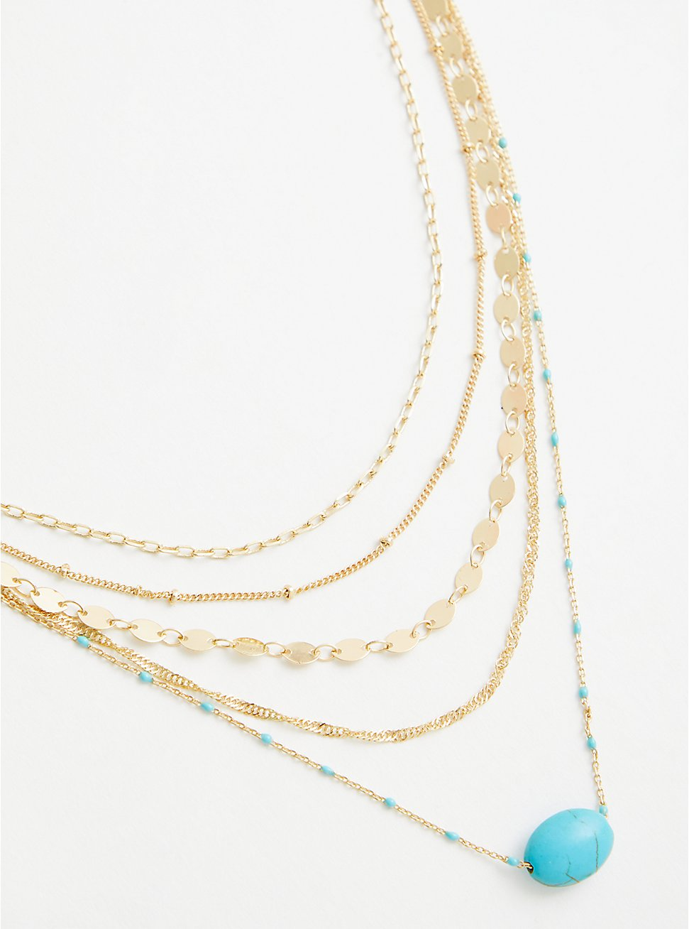 Faux Turquoise Microbead Layered Necklace - Gold Tone, , hi-res
