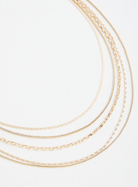 Gold Tone 5 Row Layered Necklace, , hi-res
