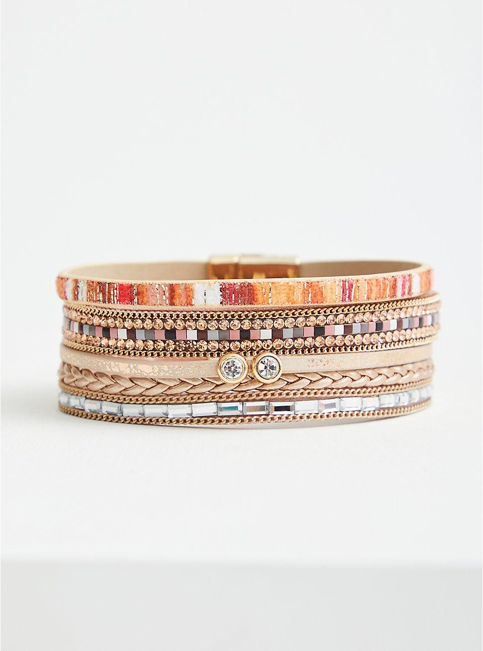 Plus Size Magnetic Bracelet - Orange & Neutral , MULTI, hi-res