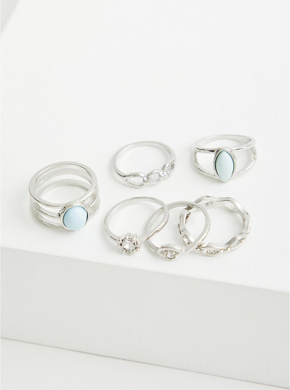 Silver Tone Oxidized Grey Stone Ring Set - Set of 6, SILVER, hi-res