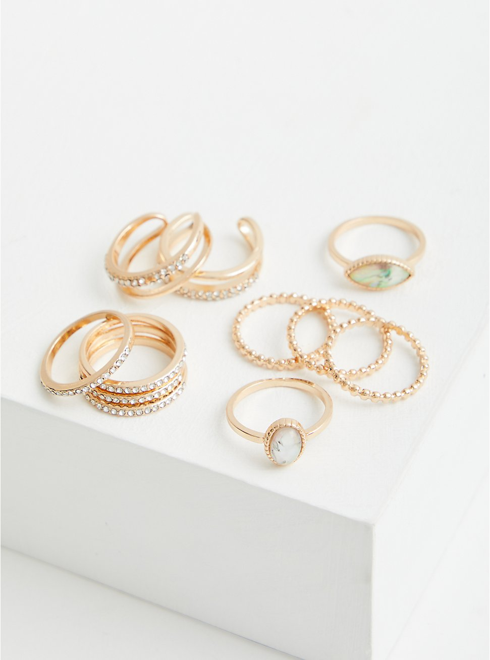 Gold Tone Stone And Pave Ring Set - Set of 11, GOLD, hi-res