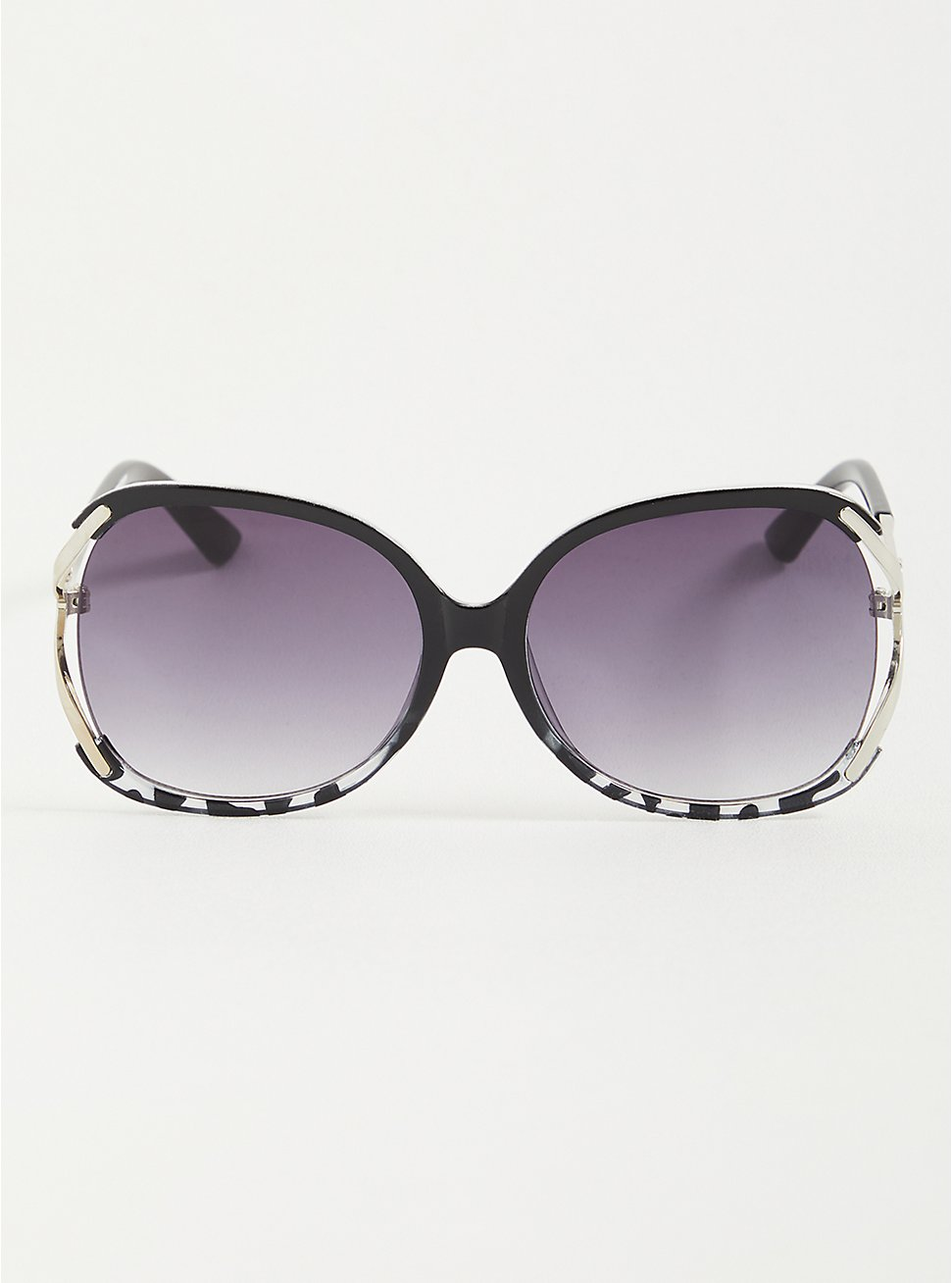 Sunglasses With Side Cutouts - Black To Leopard Fade , , hi-res