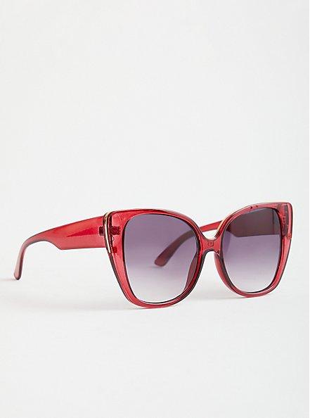 Burgundy Cat Eye Sunglasses, , alternate