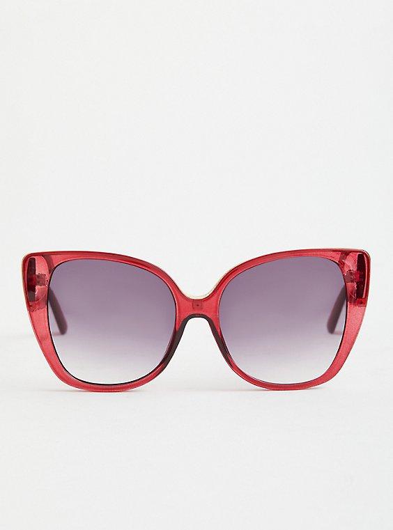 Burgundy Cat Eye Sunglasses, , hi-res