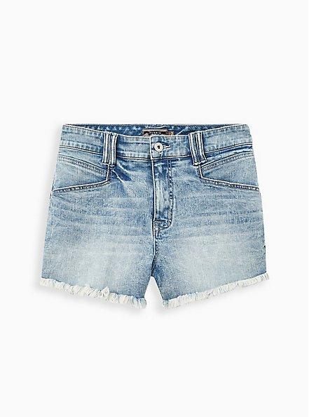 High Rise Shortie Short - Vintage Stretch Medium Wash, BURNOUT, hi-res