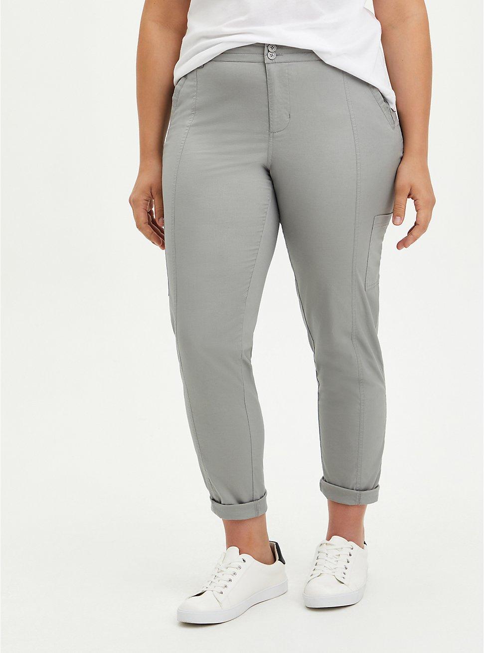 Utility Crop Pant - Stretch Poplin Grey, GREY, hi-res