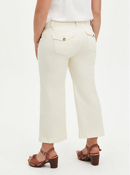 Wide Leg Crop Pant - Twill Cream, CREAM, alternate