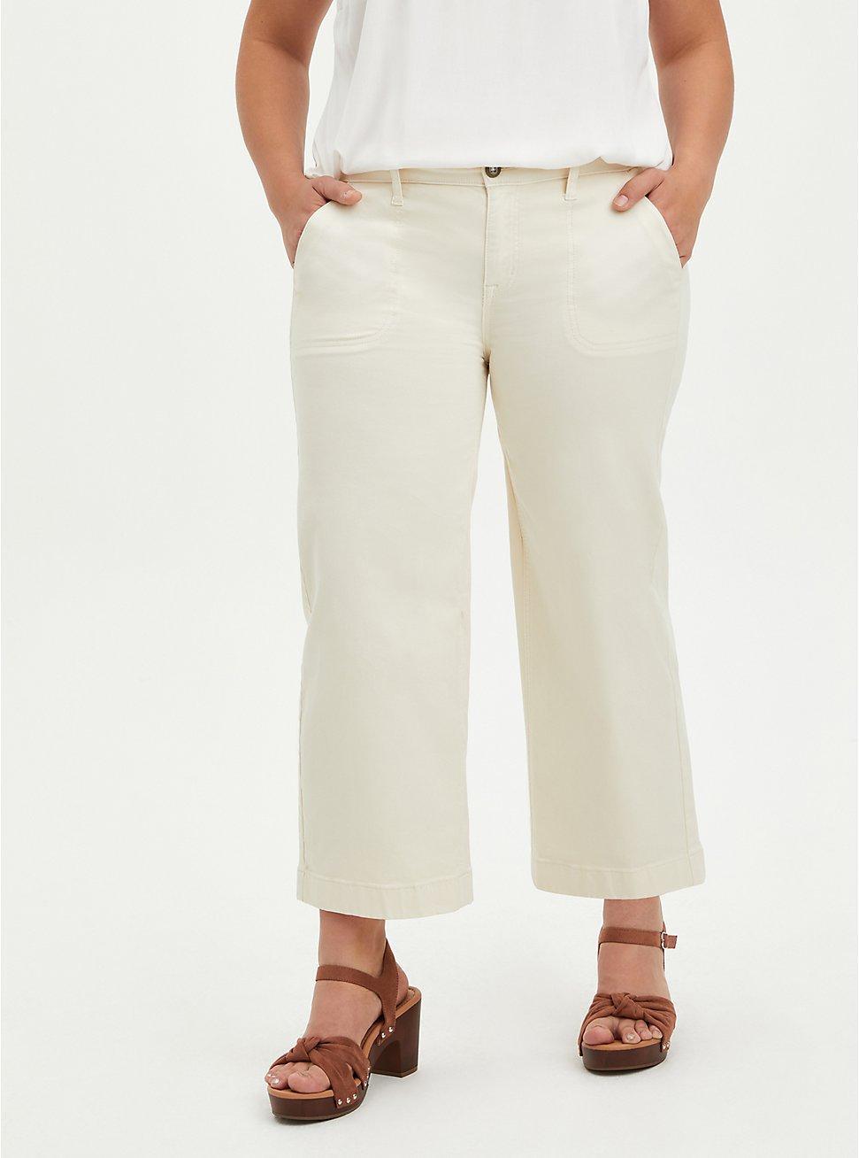 Plus Size Wide Leg Crop Pant - Twill Cream, CREAM, hi-res