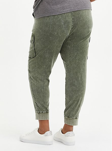 Relaxed Fit Cargo Jogger - Stretch Challis Olive Wash , DEEP DEPTHS, alternate