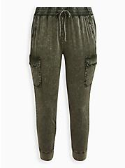 Relaxed Fit Cargo Jogger - Stretch Challis Olive Wash , DEEP DEPTHS, hi-res