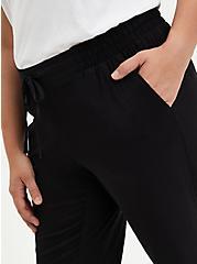 Drawcord Trouser - Stretch Challis Black, DEEP BLACK, alternate