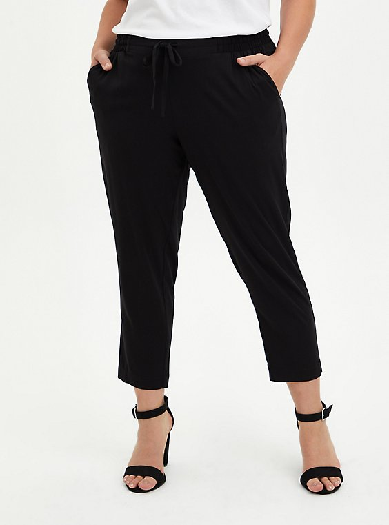Drawcord Trouser - Stretch Challis Black, DEEP BLACK, hi-res