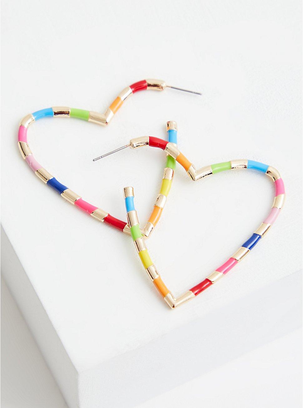Celebrate Love Rainbow Enamel Heart Hoop , , hi-res
