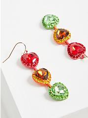 Plus Size Celebrate Love Rainbow Rhinestone Heart Linear Earrings, , alternate