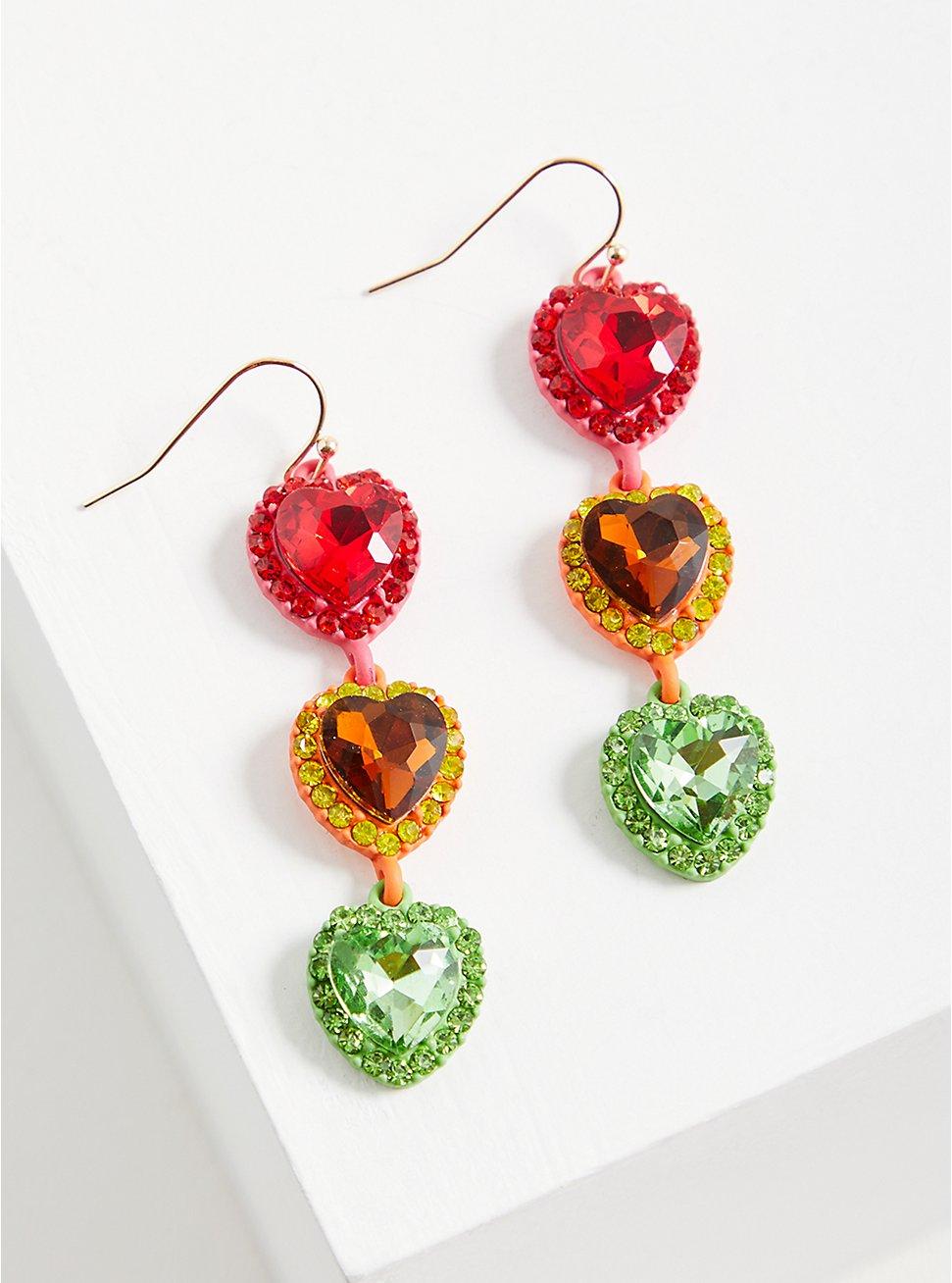 Plus Size Celebrate Love Rainbow Rhinestone Heart Linear Earrings, , hi-res