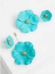 Double Floral Statement Earring - Turquoise, , alternate