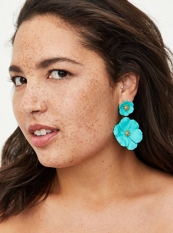 Double Floral Statement Earring - Turquoise, , hi-res