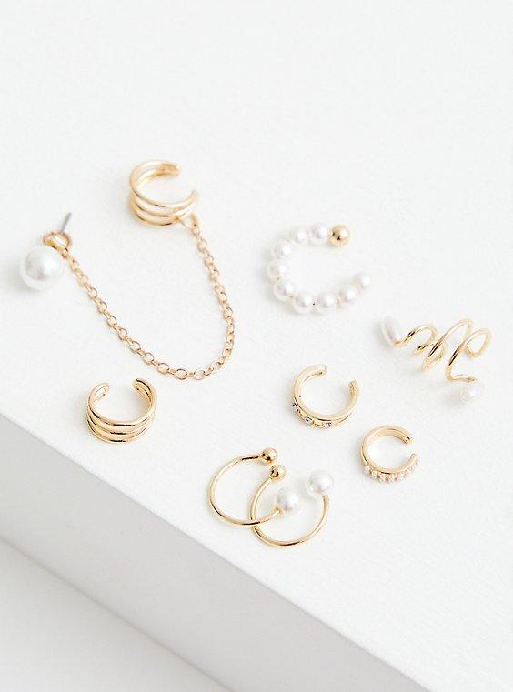 Pearl Cuffs & Huggies Set Of 8 - Gold Tone, , hi-res