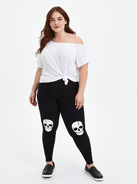 Comfort Waist Crop Premium Legging - Jersey Skull Knee Black, BLACK, alternate