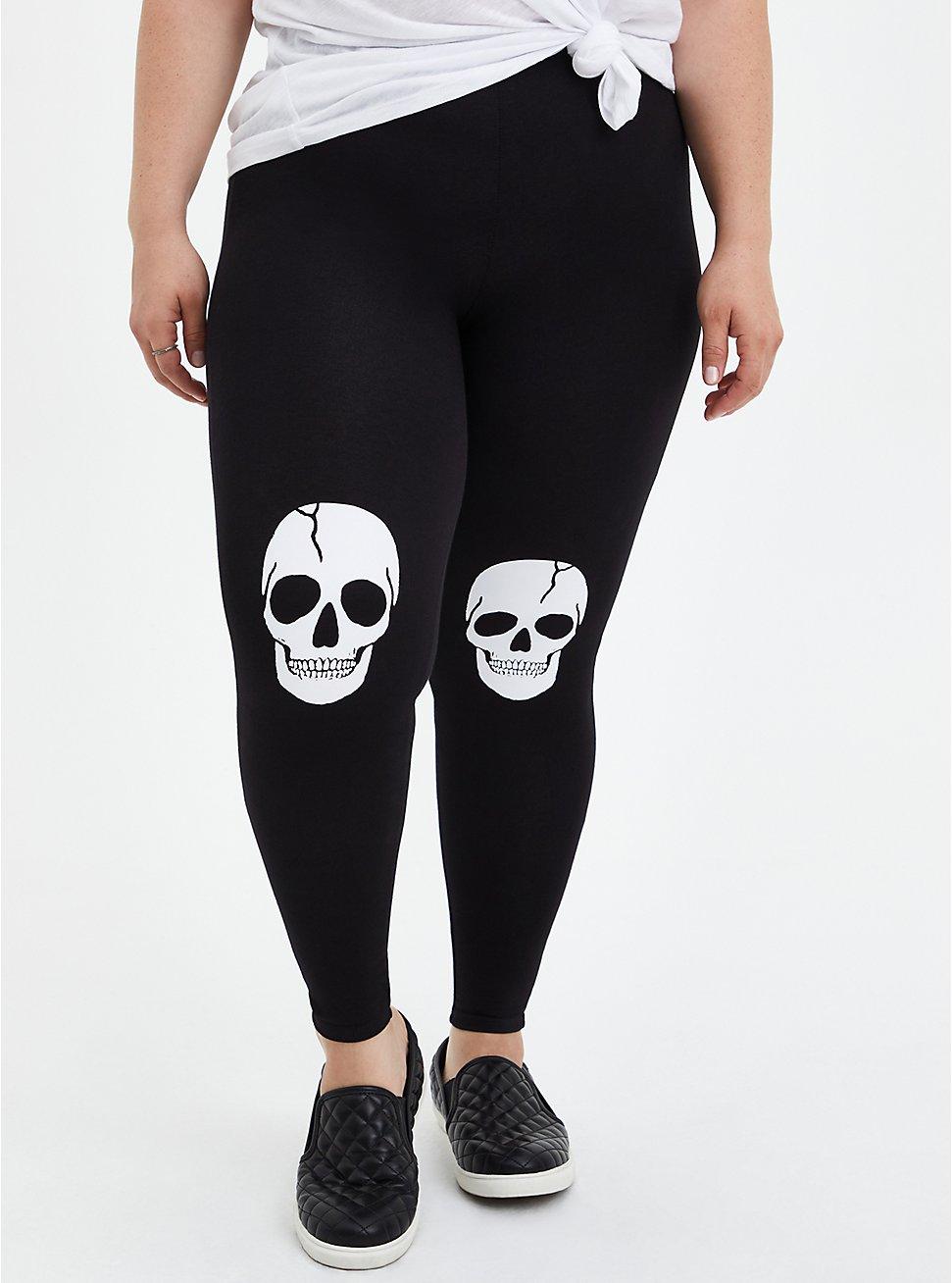 Comfort Waist Crop Premium Legging - Jersey Skull Knee Black, BLACK, hi-res