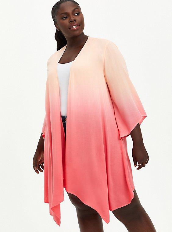 Drape Front Kimono - Chiffon Dip Dye Coral, PEACH NECTAR, hi-res