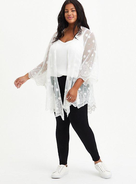 Embroidered Kimono - Mesh White, CLOUD DANCER, hi-res