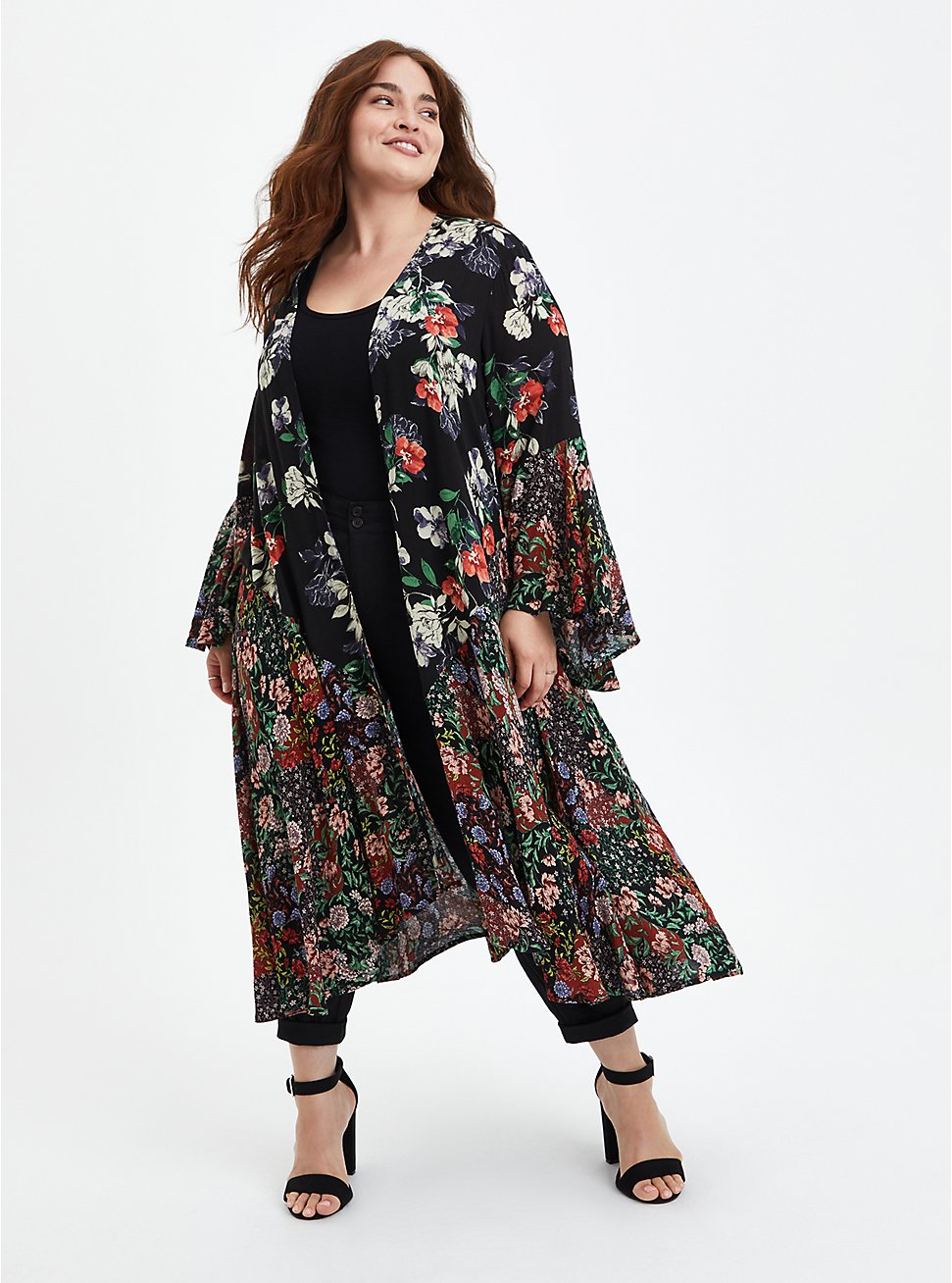 Floral Fabric Mixed Hi-Low Kimono, MULTI FORAL, hi-res