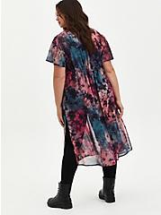 Pink & Teal Tie Dye Chiffon Tie-Front Kimono, MULTI TIE DYE, alternate