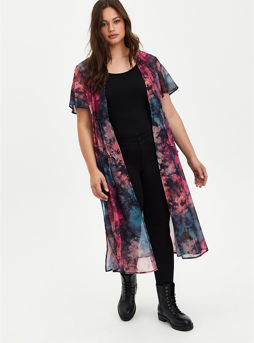 Pink & Teal Tie Dye Chiffon Tie-Front Kimono, MULTI TIE DYE, hi-res