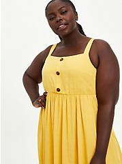 Cross Hatch Pinafore Midi Dress - Mustard, YELLOW, alternate