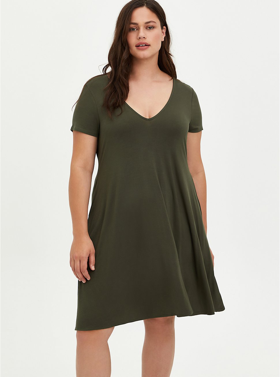Fluted Mini Dress - Super Soft Olive, DEEP DEPTHS, hi-res