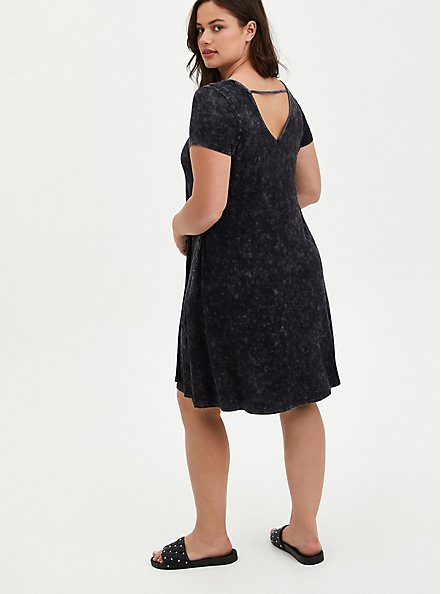 Fluted Mini Dress - Super Soft Black Wash, TIE DYE-BLACK, alternate