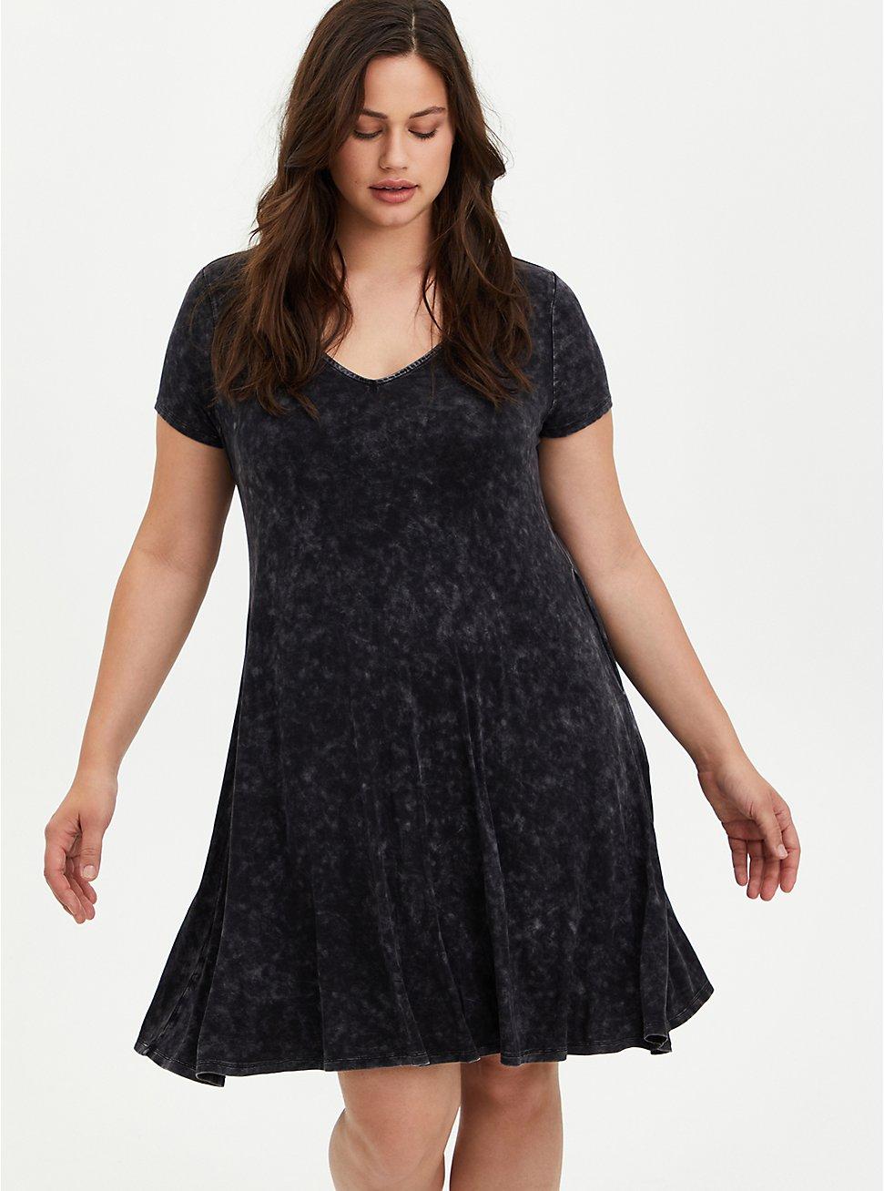 Fluted Mini Dress - Super Soft Black Wash, TIE DYE-BLACK, hi-res
