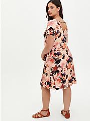 Fluted Mini Dress - Super Soft Floral Coral, FLORAL - PEACH, alternate