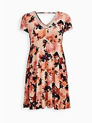 Fluted Mini Dress - Super Soft Floral Coral, FLORAL - PEACH, hi-res