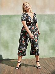 Culotte Jumpsuit - Super Soft Floral Black, FLORAL - BLACK, hi-res