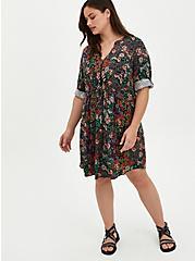 Zip Front Shirt Dress - Stretch Challis Floral Black, FLORAL - BLACK, alternate