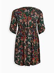 Zip Front Shirt Dress - Stretch Challis Floral Black, FLORAL - BLACK, hi-res