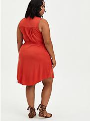 Zip Front Shirt Dress - Challis Rust, RUST, alternate