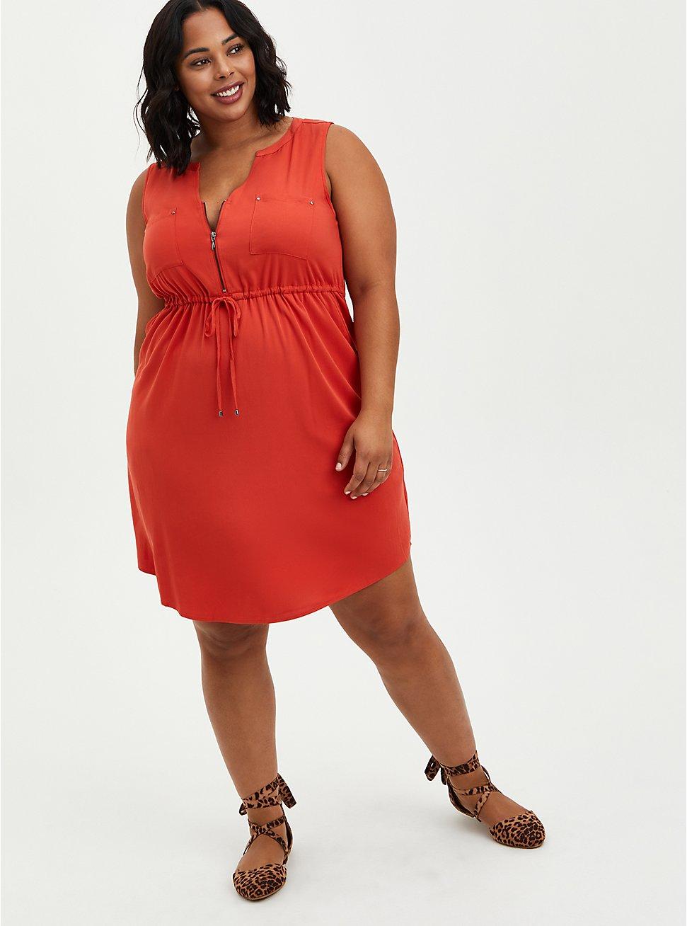 Zip Front Shirt Dress - Challis Rust, RUST, hi-res