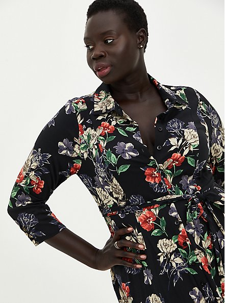 Tea Length Shirt Dress - Challis Black Floral, FLORAL - BLACK, alternate