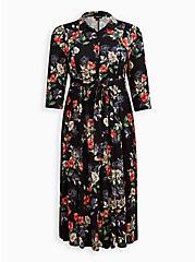 Tea Length Shirt Dress - Challis Black Floral, FLORAL - BLACK, hi-res