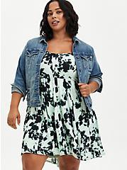 Sweetheart Hi-Low Skater Dress - Textured Stretch Rayon Tie Dye Black & Green, TIE DYE, alternate